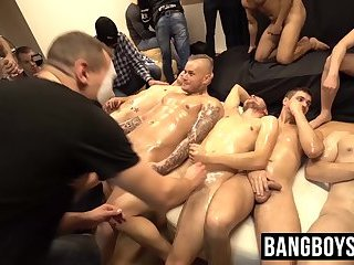 Oiled up young men sucked off by perverts and give facials