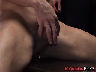 Gay mormon cums stroking