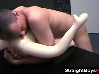 Sexually frustrated guys tag team a blowup doll hard