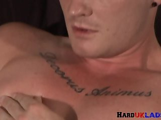 Solo british stud tugging hard cock