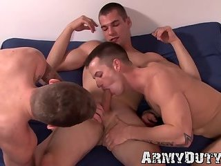 Adorable army jocks Quentin, Ryan and Princeton breeding