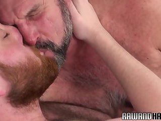Hairy duo rimming ass and tugging cocks