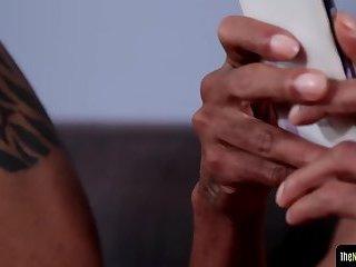 Black amateur stroking his bbc in closeup