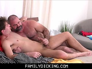 Muscle Bear Step Dad Teaching His Twink Step Son After Catching Him Jerking Off