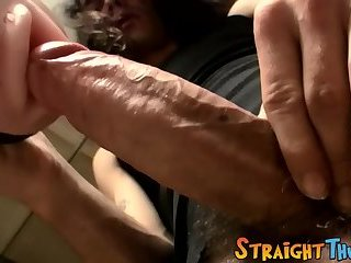 Irresistible stud Devin toying and tugging his big cock