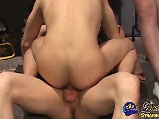 Gay pervs get bent and doggystyled in a wild threesome