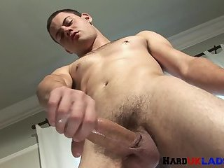 Solo chav wanking and pleasuring himself