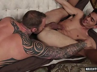 Tattoo jock flip flop with cumshot
