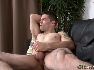 Tugging real soldier cums