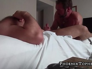 Mature bear receives a cock massage before ass fucking