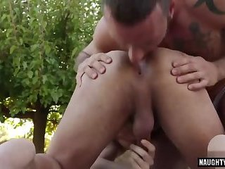 Tattoo gay flip flop with cumshot