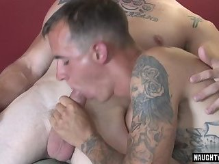 Tattoo military threesome and cumshot
