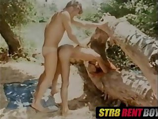Retro dudes blow cock before barebacking hard outdoors