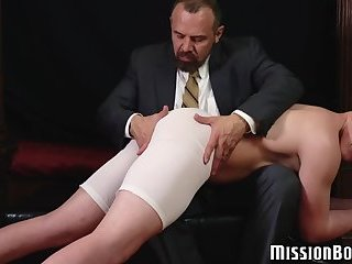 Naughty jock wanks off while disciplined with pastor toys