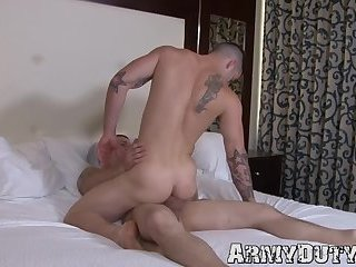 Inked military jock manhandled and pounded hard