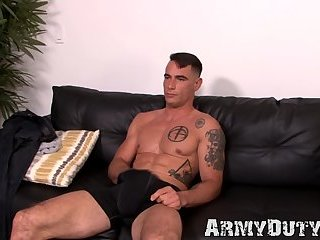 Military hunk Johnny Utah sharpening his big dick solo