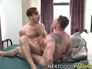 Jock licks feet before hammering hard his butt buddy