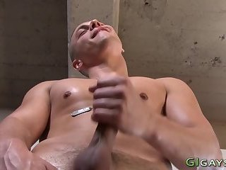 Horny soldier shoots jizz