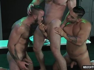 Latin wolf threesome with facial