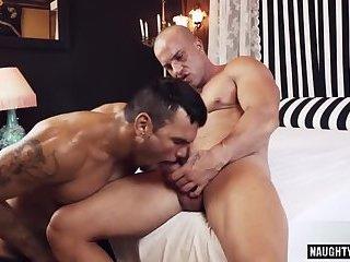 Latin gay spanking with facial cum