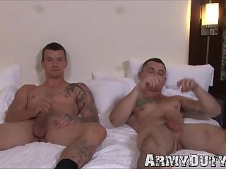 Impeccable doggystyle action from two muscular army jocks
