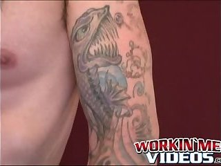 Tattooed mature gay jerks off big dick and unloads hot cum
