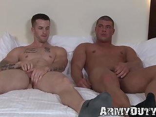 Muscular army jock butt pounded raw vigorously by hung lover