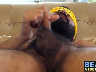 Hairy bear spreads hairy ass for hardcore raw ass banging