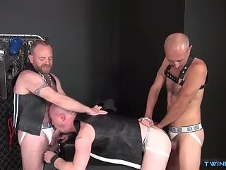 Muscle son piss and cum eating