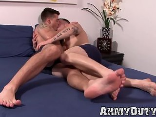 Smooth Army hunk asshole stretched with breeding exercise