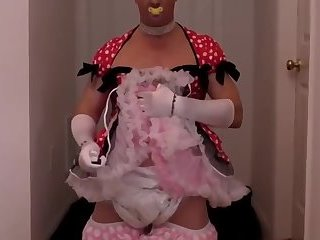 diapered sissybaby princess in pretty red dress triple diaper