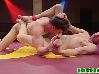 Muscle studs wrestling before analsex