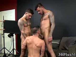 Buff tattooed threesome