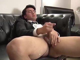 Young  Suit man Wanking Jerk
