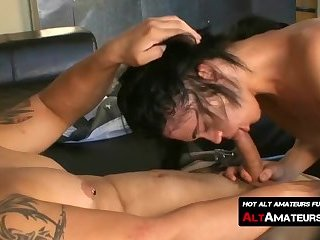 Skinny emo with long hair anally drilled by inked hunk
