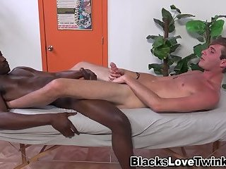 Massaging twink nailed