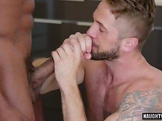 Big dick gay interracial sex with cumshot