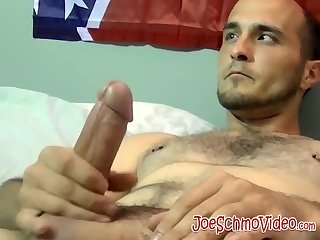 Hairy amateur gay dude smokes and strokes his cock solo