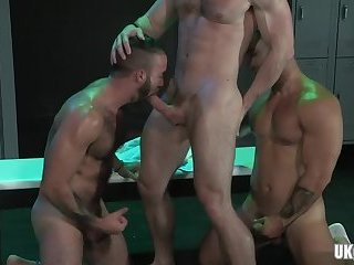 Latin wolf threesome and facial