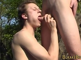 Twinks face drips bukkake
