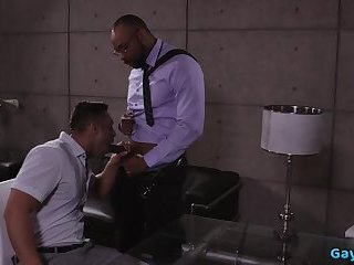 Hot gay interracial sex and cumshot