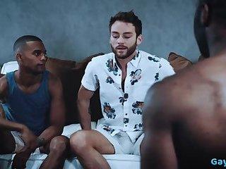 Big dick gay interracial sex and cumshot
