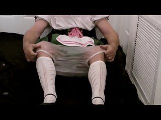 Diapered sissybaby beerwench locked in chastity wetting diapers