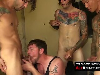 Gay guys take turn receiving blowjobs from a hungry homo