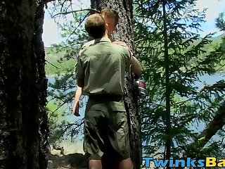 Juicy twink enjoys raw sex session and cum on ass in nature
