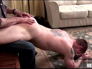 Muscle amateur spanking and cumshot