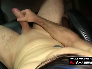 Handsome alt stud intensely jacking off uncut dick to porn