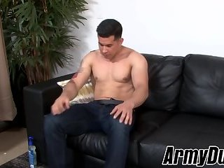 Good looking army dude strips and plays with his hard dick