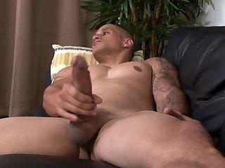 Hung Muscular Hunk Stroking His Massive Uncut Dick