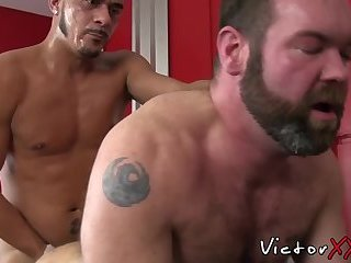 Cock hungry jock pounded hard by two hairy butt buddies